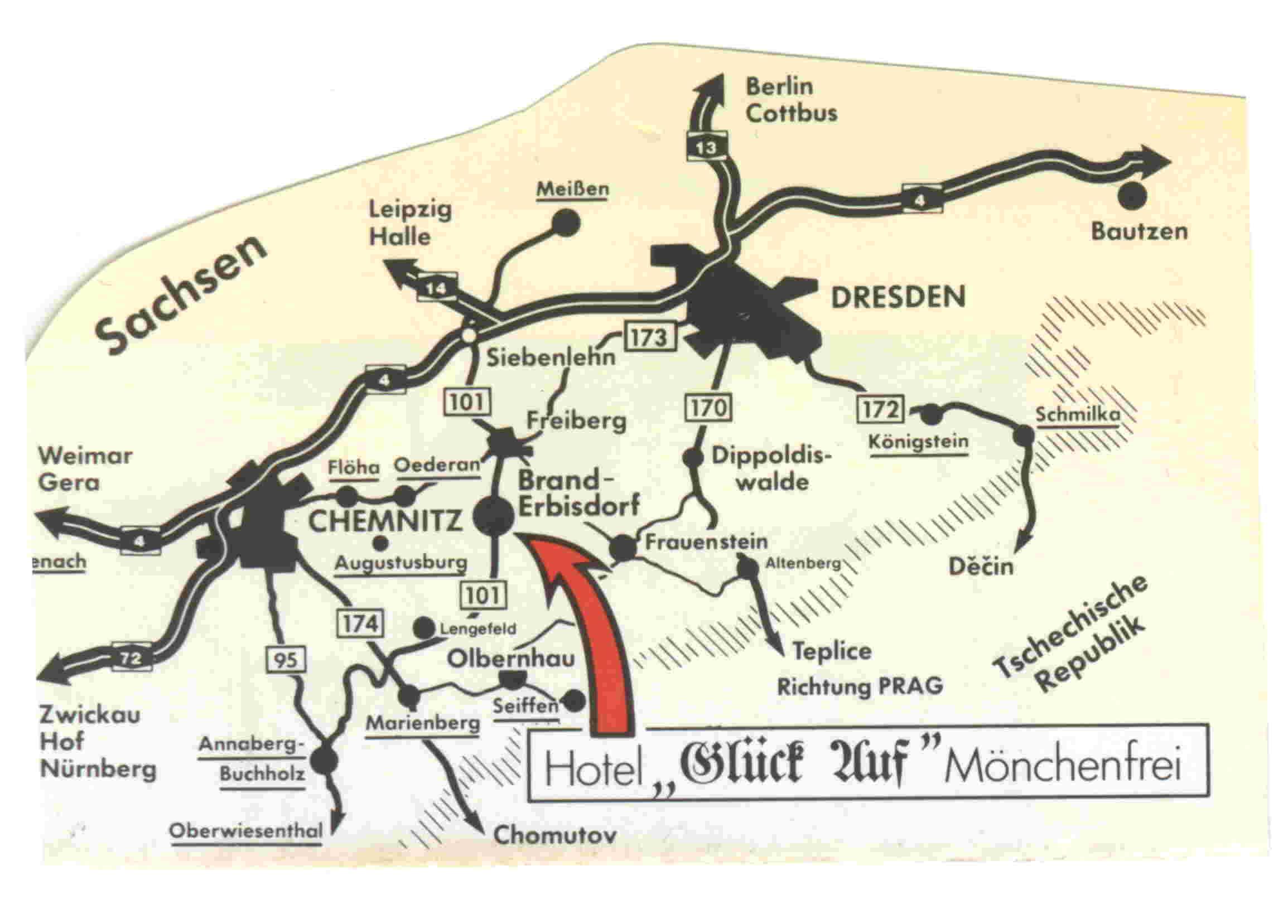 Bergbau Erzgebirge Karte.Traditionshotels Fur Bergbau An Der Silberstrasse Im Erzgebirge
